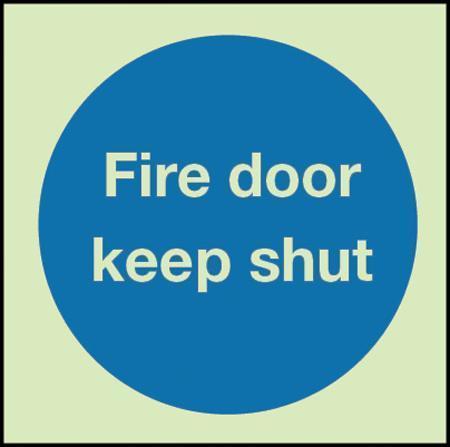 Fire door keep shut Photoluminescent Sign