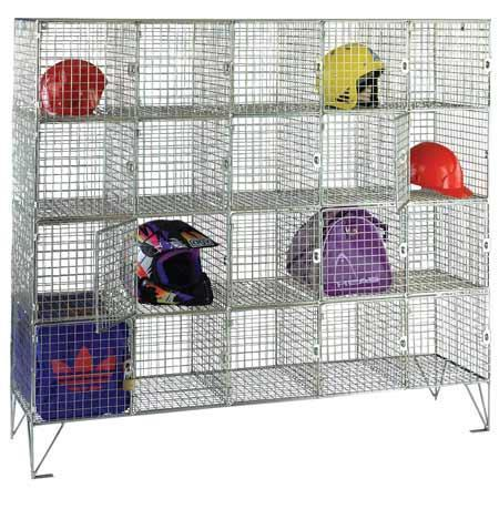 Wire Mesh Lockers 20 Compartments with Doors - 1370x1515x457mm