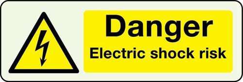 Danger Electric Shock Risk Photoluminescent Sign
