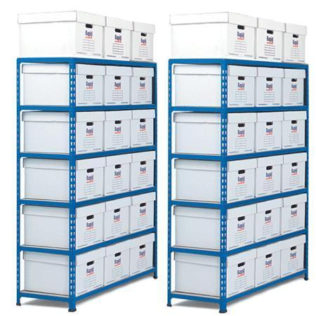 Two Medium Duty Shelving Bays with Archive Boxes