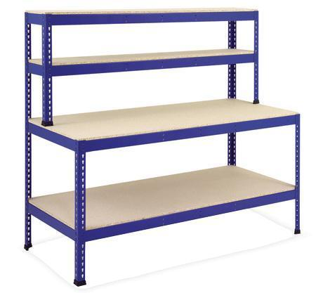 Boltless Workstation With Lower & Overhead Shelves