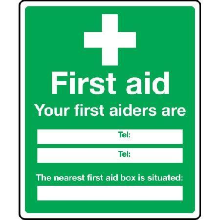 ...Your first aiders are... The nearest first aid box... Sign