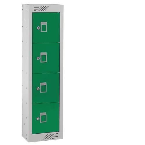 Personal Effects Lockers - 4 Doors - Flat Top - 915x250x155mm