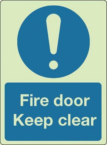 Fire door keep clear Photoluminescent Sign