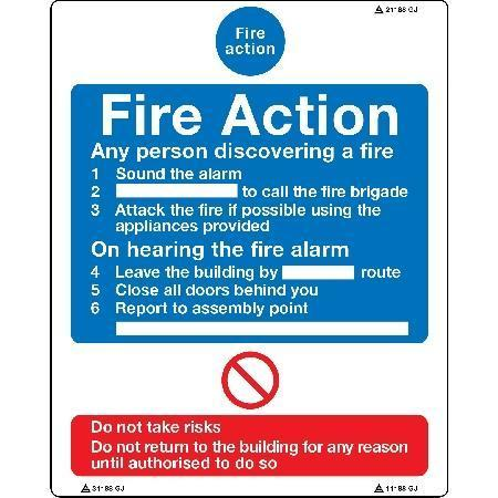 Fire Action Any person discovering a fire... Sign