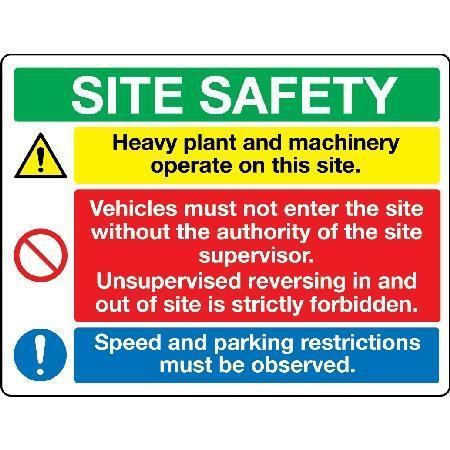 Heavy plant and machinery operate... Sign