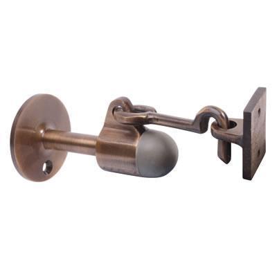 Horizontal Door Stop Holder 91mm Antique Brass Key