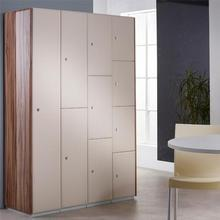 Beige locker doors with Walnut Gloss end panels