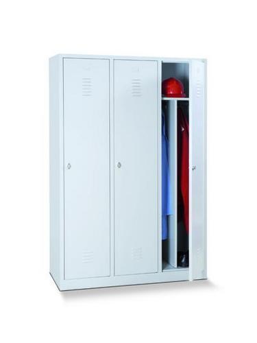 Clean & Dirty Lockers - 3 Nest with Plinth - Grey Body & Cylinder Lock - 1800x1185x500mm